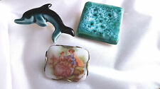 Vintage Jewellery - Three Ceramic Pin Brooches - One Ruskin Style