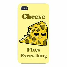 Cheese Fixes Everything Food Humor FITS iPhone 4 4s Plastic Snap On Case Cover
