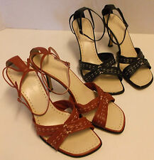 BOGO NINE WEST LEATHER STRAPPY SLINGBACK STILETTO HIGH HEEL SANDALS, SIZE 9.5M