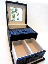 Jaclyn Smith Travel Jewelry Box Black Weave PVC With Lock New