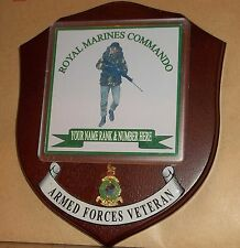 Royal Marine Commando Veteran Wall Plaque with name, rank & number free.