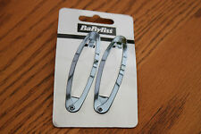 JOB LOT Babyliss 10 x 2 Pack of Metallic Black Silver Snap Slide Hair Clips Pins