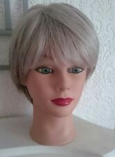 Ladies Wig - Silver Grey Dimples Feather - Hand Tied, Monofilament
