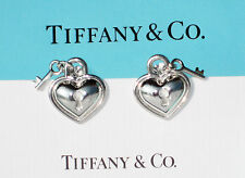 Tiffany & Co Sterling Silver Heart Padlock & Key Earrings