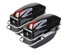 2 Pcs Motorcycle Cruiser Hard Trunk SaddleBags Luggage w/ Lights Mounted Black