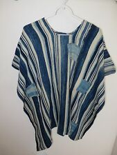 One-of-a-Kind Poncho, Made of Vintage Indigo Striped Textiles  from Mail