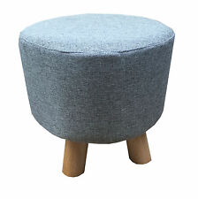 Grey Luxury Wooden Footstool Round Pouffe Ottoman Stool Wooden 4 Legs Padded