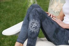 Gray Yoga Leggings Hand Dyed USA with Silver Throat Chakra XS-6XL inc Plus Sizes