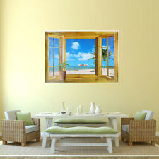 3D False Windows Seascape Landscape Wall Stickers Fashion Home Decors Wall Paper