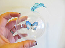 REAL WHITE BLUE INDONESIAN BUTTERFLY CHRISTMAS ORNAMENT BALL GLOBE ROUND GIFT