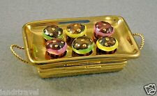 NEW FRENCH LIMOGES TRINKET BOX CUP CAKE TRAY W MINIATURE REM.CHOCOLATE CUP CAKES