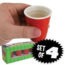 (4) Mini Red Cup Solo Ceramic shot glasses - liquor java espresso coffee tea