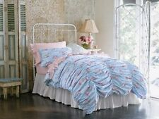 Rachel Ashwell Simply Shabby Chic QUEEN Duvet Set Pink Blue Ruched Cabbage Rose