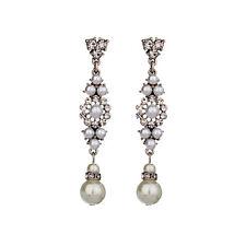 Boucles d`Oreilles Clous Argenté Art Deco Chandelier Perle Retro Mariage BB14
