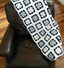 Newly Finished Hand Made Granny Square Afghan Crochet Throw Black White Gray
