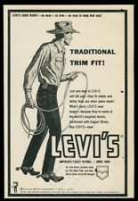 1959 Levi's blue jeans cowboy with rope art vintage print ad