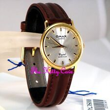 Omax Waterproof Gold Silver Laser Gents Unisex Swiss Brand Leather Watch SC7431