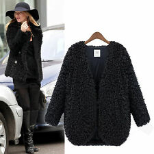 New Womens Fluffy Shaggy Faux Fur Cape Coat Jacket Winter Outwear Cardigan Tops