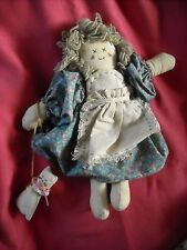 """primitive country cloth doll cat kitty decoration decor 12"""" cat girl lady"""