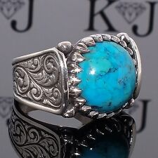 Ring Turquoise Silver Sterling 925 Men Mens Handmade natural Persian Firoza