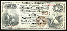 1882, $10 Fr 490 Large Size National Fr 490, Charter # 6023 Vf20, Nbn Pittsburg,