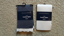 Lot x2 Girls Falls Creek Footless/Footed Tights-Thin-White/Lace/Blue-Sz 7/10-New
