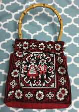 Vtg Embroidered Knit 70's Scandinavian Boy Girl purse Metal Frame Rattan Handle
