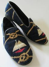 Larkspur Collection Needlepoint Shoes Navy Blue Red Nautical Sail Boat 8M