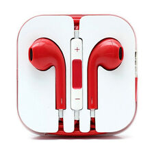 Red Headphones Earbud Earphones Volume Control Mic iPhone 6 6S Plus 5 5S 4 4S