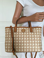 NWT TORY BURCH RATTAN NATURAL PRINT KERRINGTON MINI SHOPPER CROSSBODY BAG PURSE