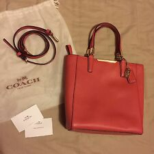 Womens GENUINE Coach Madison Saffiano Leather Mini Tote Crossbody Bag Pink Red