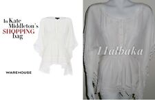 RARE WAREHOUSE CREAM WHITE LACE KIMONO KAFTAN BLOUSE TOP UK10 ASO
