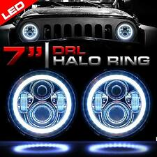 7 Inch Round LED Chrome Headlights Halo Angle Eyes For 97-2016 Wrangler JK LJ TJ