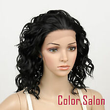 Hand Tied Lace Front Full Wigs Glueless Synthétique Perruque Noir 95#1B