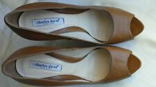 Charles David Open Toe Brown Leather Heels - Size 9 1/2 Made in Italy.