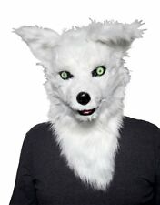 Thumbs Up MR FOX MASK - WHITE Moving Mouth HEAD Mask Plush Faux Far