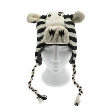 Fun Zebra Handmade Winter Woollen Animal Hat. Fleece Lining, One Size,  UNISEX