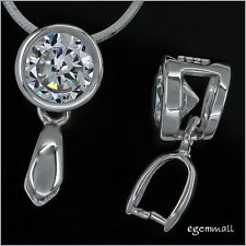 Fine Sterling Silver CZ Pendant Connector Bail Clasp Slider 1pc #97292