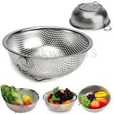 Stainless Steel Kitchen Mesh Sifter Colander Strainer Sieve Fruit Food Basket