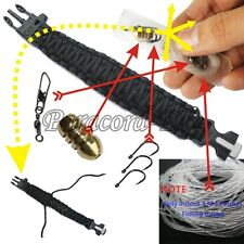 Fish hook + 550 Paracord Survival Bracelet King Camping Military Tactical