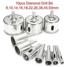 10pz Set Diamante Punte Trapano Rivestita Drill Per Vetro Ceramica Marmo 8-50mm