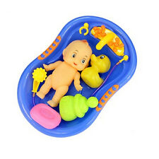 5x Baby Doll in Bath Tub with Duck +Shower Accessories Set Kid Pretend Play Toy.