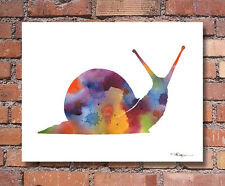 Snail Abstract Watercolor Painting Art Print by Artist DJ Rogers