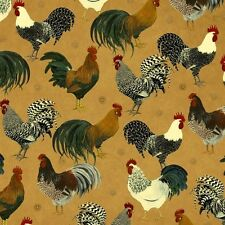 Rise and Shine Rooster Breeds on Marbled Brown Cotton Fabric by the Yard