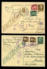 ITALIA 1943 stationery Uprated + MULTI censurati alla Francia + Svizzera... 2 cards