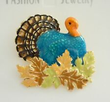 Thanksgiving Turkey in Fall Leaves Pin  ~ AND/OR ~ Pendent / Gold-Tone Turkey