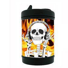 Black Metal Car Ashtray Skull Design-017 Skull With Head Phones Smiling & Fire