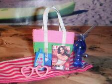 Fisher Price Loving Family Dollhouse Pink Beach Blanket Bag Sun Tan Lotion Beach