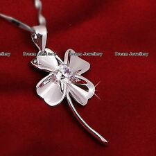 Irish Clover Leaf Flower Necklace Pendant Christmas Gifts for Wife Daughterr Mum