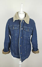 VTG OVERSIZED TRUCKER ACID WASH DISTRESSED SHERPA LINED DENIM JACKET 10-12